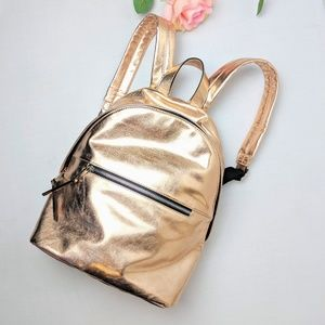 French Connection, rose gold mini backpack, NWOT
